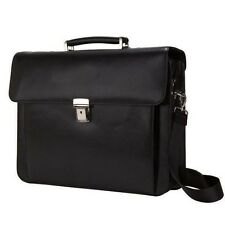"Executive Lawyer 15"" Laptop Computer Silver Hardware Leather Briefcase Bag Black"