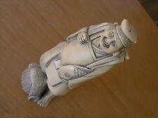 Great Vintage Japanese Fisherman Sculpture Figure Figurine Faux Something