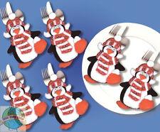 Felt Embroidery Kit Design Works 6 Christmas Penguins Silverware Pockets #DW5373