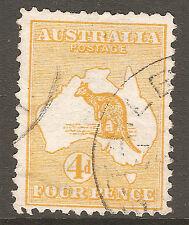 1913 4d Orange Roo / Kangaroo 1st WMK Australia Used Light CDS