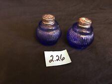 VINTAGE COBALT BLUE GLASS SALT & PEPPER SHAKERS