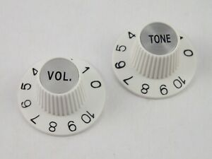 Pair of WHITE WITCH HAT KNOBS 1 VOL. & 1 TONE for USA Gibson or Jazzmaster
