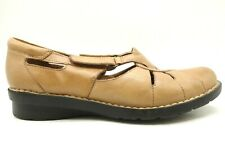 Clarks Bendables Brown Leather Adjustable Slip On Loafers Shoes Women's 8.5 W