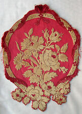 Vintage Cut Velvet Fabric Depicts Roses Sateen Back  French