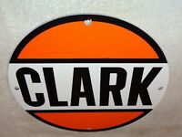 "VINTAGE ""CLARK STATION"" 11 3/4"" PORCELAIN METAL GASOLINE & OIL  SIGN! PUMP PLATE"