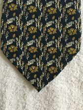 """MARJA KURKI MENS TIE NAVY BLUE WITH GOLD FLOWERS AND WHITE PICIT FENCE 62x3.75"""""""