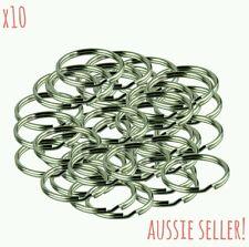 Steel Split Key Rings Polished Chrome 25mm 10 Pack Bulk Chain Keyring Rings