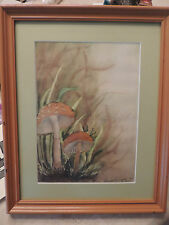 Mushroom Print Watercolor by Lauren Gregory 1999  ~designinig framers wood ~