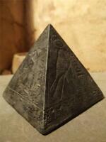 Egyptian statue Pyramid / Pyramidion featuring the sun god Ra and adoratore
