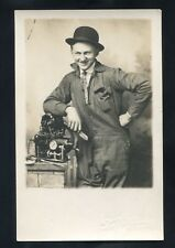 RPPC GAS STEAM ENGINE builder inventor repair Occupational photo RP postcard
