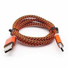 Orange Braided Micro USB 3.1 Sync Charger Cable For  Samsung Galaxy S8+ S8 Note8