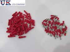 100 x red bullet connectors insulated crimp terminals for audiowires &electrical