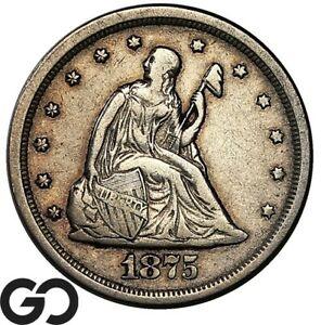 1875-S Twenty Cent Piece, Choice XF+ Tougher Date