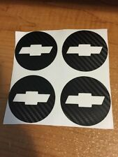 4 PC CARBON FIBER CHEVROLET BOWTIE WHEEL/ RIM VINYL CENTER CAP LOGO STICKERS