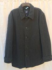 Men's GAP Wool Blend Dark Charcoal Gary Winter Coat Size L Fleece Lining