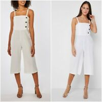NEW RRP £32 Ex Dorothy Perkins lvory Cotton Blend With Linen jumpsuit