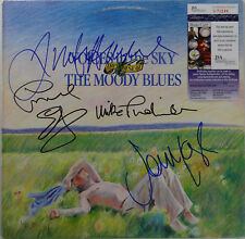 """SIGNED THE MOODY BLUES AUTOGRAPHED VOICES IN THE SKY 12"""" LP RECORD JSA # V70249"""