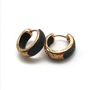 Milor Italy Bronze Black Spinel Huggie Hoop Earrings