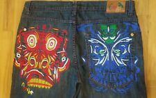 COOGI Dark Wash 100% Cotton Baggy, Loose TIKI HEAD Embroidered Jeans ~ Sz 40x34