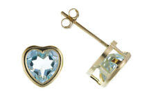 Blue Topaz Heart Earrings Stud Solid Yellow Gold Studs Smooth Set Natural Stone