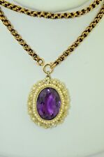 Early Victorian Amethyst Seed Pearl & Mother of Pearl Pendant