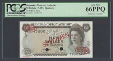 Bermuda 50 Dollars 1-5-1974 P32as Specimen TDLR Uncirculated
