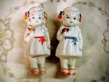 2 Vintage Bisque Penny Dolls Frozen Charlotte Flappers Flowers Japan Sweet