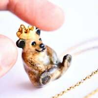 Bear King Necklace Porcelain Charm Hand Painted Pendant & Gold Chain