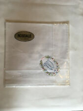 Monogrammed Handkerchief with blue letter W in floral wreath. new in packet