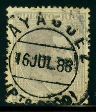 """PUERTO RICO 1882 K.ALFONSO XII  5c gray Sc# 69 with SON """"MAYAGUEZ 16 JUL 88"""" cxl"""