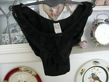 Vintage Negro Satén Sedoso volantes Poly 80s Babydoll Pantie Bikini Bragas 10/12