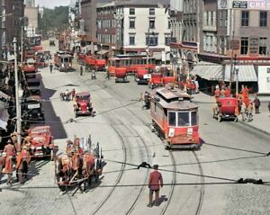 """Fall River, Massachusetts Early Street tinted color Photo- Approximately 8x10"""""""