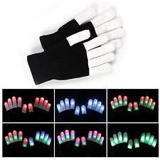 Fashion Cool LED Rave Flashing Gloves Glow 6 Modes Dark Light Up Finger Lighting
