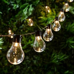 Retro Solar String Lights Outdoor Garden LED Festoon Party Globe 10/20 Bulbs