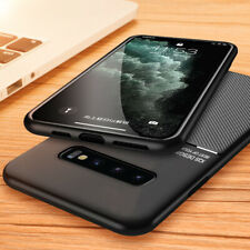 For Samsung Galaxy S9 S10 Note 10 Plus Leather TPU Silm Case + Screen Protector