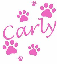 Personalised Name/Dog Paw Prints Wall Art, Boys/Girls Room,Custom Vinyl Sticker