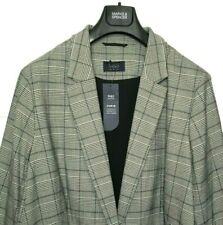 Ladies M&S Jacket / Curve Grey Houndstooth Check Tailored 30 BNWT / Marks Women