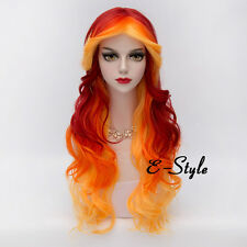 Fashion Red Mixed Orange 75CM Long Curly Lolita Women Anime Cosplay Party Wig