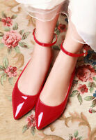Women Hot Sale pointy toe Patent Leather flats heel ballet Shoes ankle strap Sz