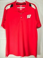 ProEdge Wisconsin Badgers Men's Polo Short Sleeve Shirt Size Large Red