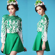 Boat Neck Long Sleeve No Floral Tops & Shirts for Women