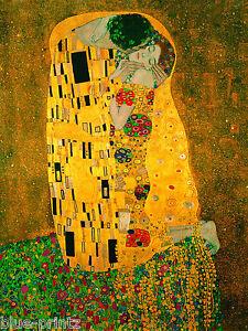gustav klimt the kiss canvas  print painting art vintage framed