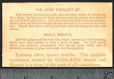 """1883 © Card Trick & """"Magic Breath"""" on Victorian Advertising trade card"""