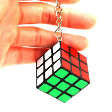 Mini Lock Keychain Rubik's Cube 3x3x3 Magic Speed Cube 30mm Puzzle Twist (Black)