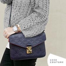 Great Condition! Louis Vuitton Navy Monogram Empreinte Leather Pochette Metis