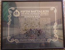 5TH BATTALION RAR HONOUR ROLL FRAMED VIETNAM MEMORIAL DEDICATION