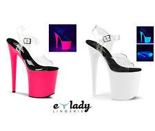 Pleaser Flamingo-808UV Shoes Ankle Strap Platform Sandals Pole Dancing Neon Heel