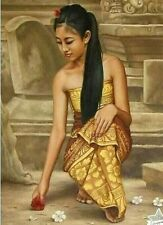 INDONESIAN FINE ART, PORTRAIT OF YOUNG BALINESE WOMAN -PO
