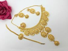 NEW NECKLACE SET GOLD PLATED DESIGNER INDIAN COSTUME JEWELLERY WEDDING FASHION