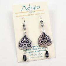 Adajio Earrings Dark Gray Back with Shiny Silver Scroll Overlay and Bead Drop